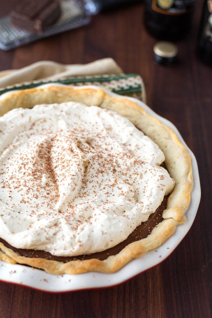 Chocolate Stout Cream Pie with Irish Cream Whipped Cream