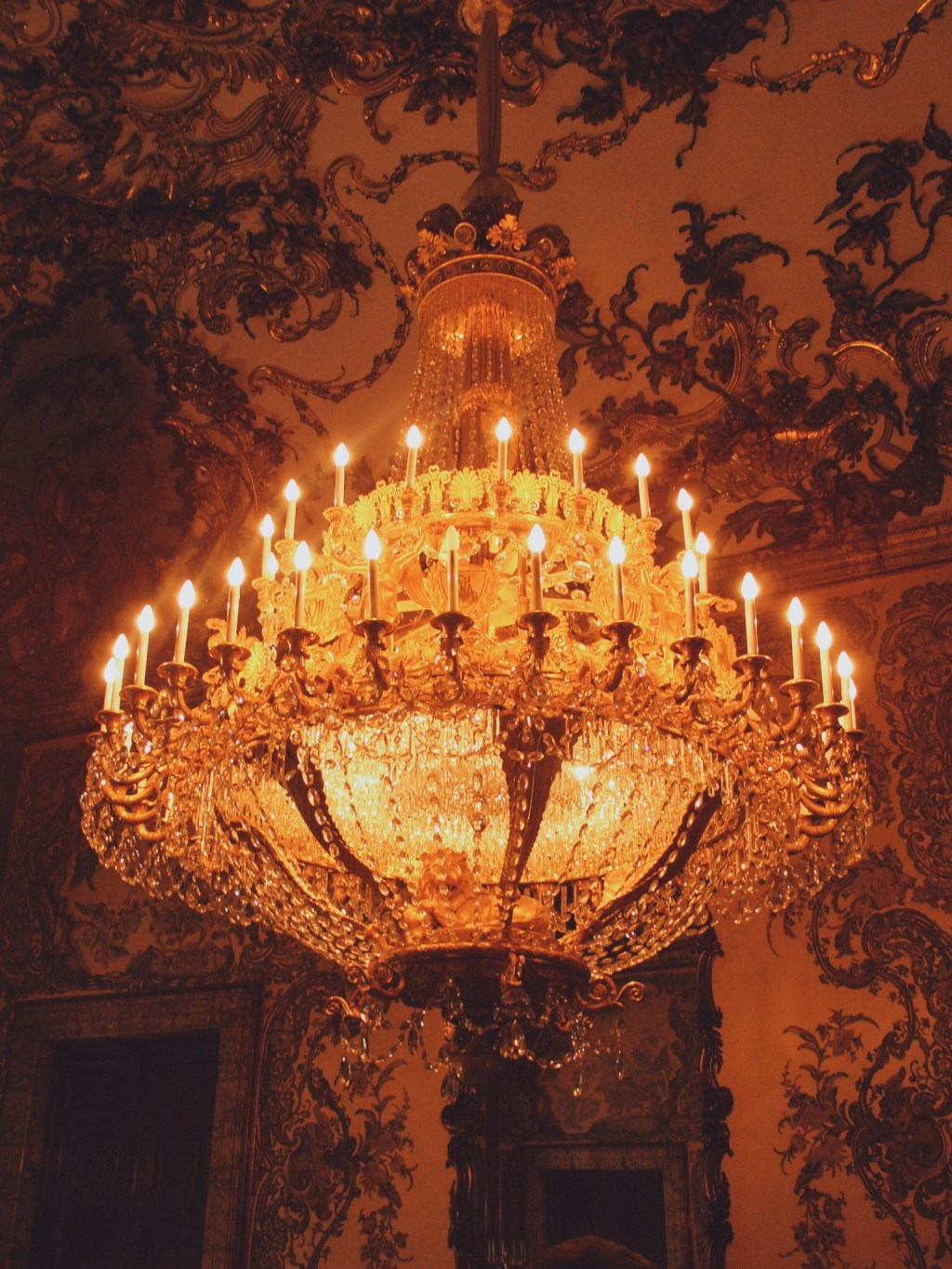 Chandelier in Palacio Real (Royal Palace) in Madrid, Spain