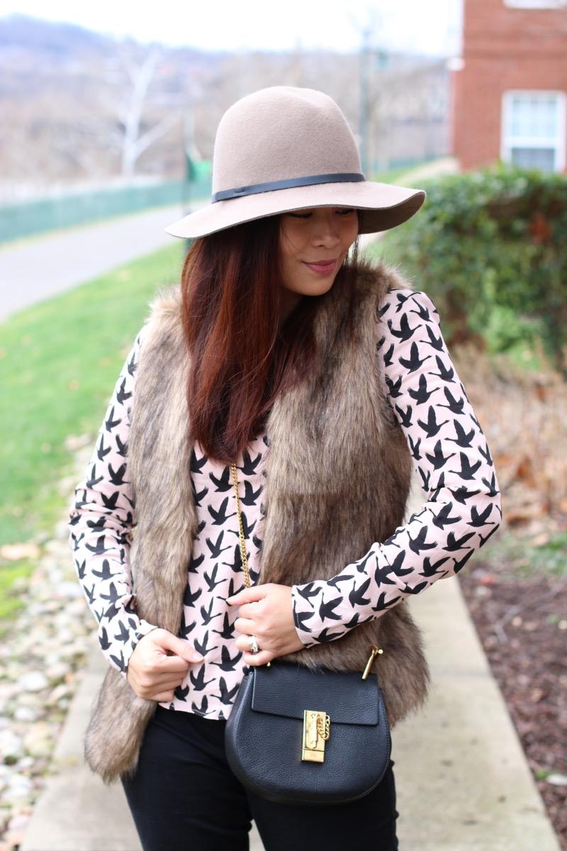 rose quartz top, faux fur romwe vest, hat attack hat