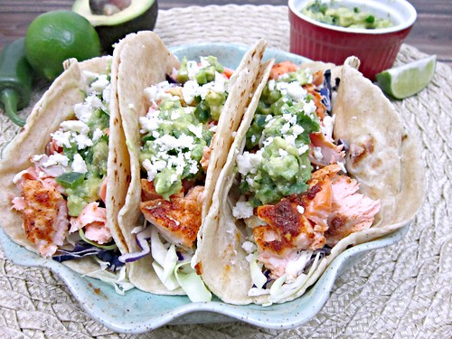 Baked Salmon Tacos with avocado salsa