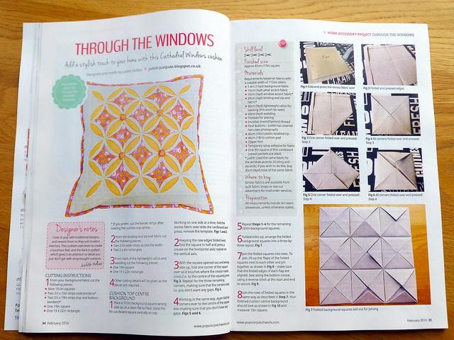 Popular Patchwork Feb'16 - Cathedral Windows Cushion