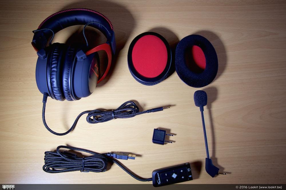HyperX Cloud II Headset, kabeltjes, microfoon en extra ear pads