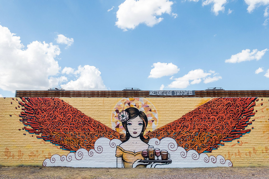 "Angels Trumpet Ale House by Thomas ""Breeze"" Marcus and Lalo Cota - Mural."