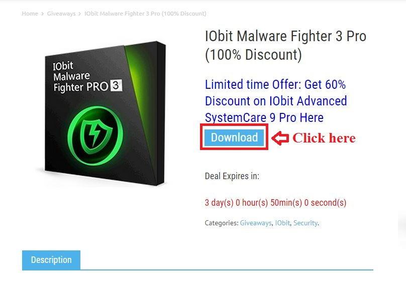 Bản quyền miễn phí IObit Malware Fighter 3 Pro bước 2: click download