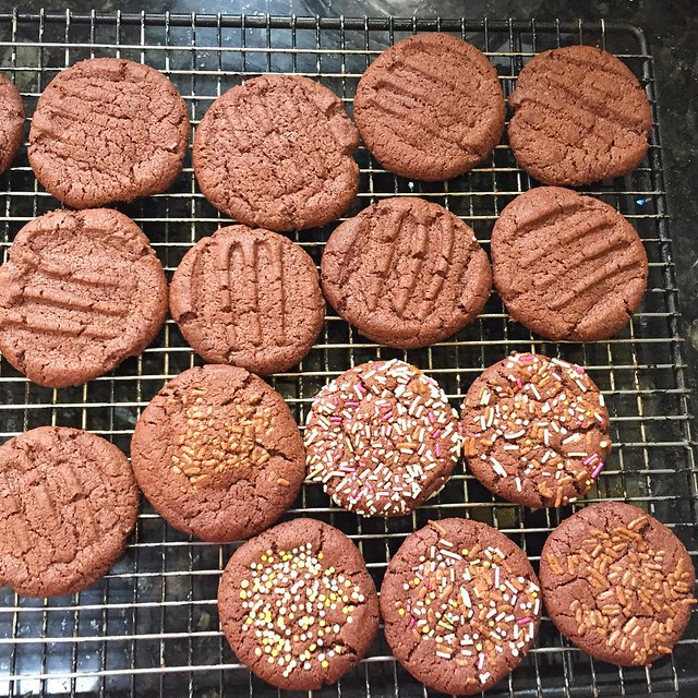 Product of toddler baking session: Idiot biscuits. Actually, she mainly poured sprinkles around, but kept her occupied.  Recipe: http://www.theguardian.com/lifeandstyle/2014/jun/21/pitchfork-fair-mums-chocolate-biscuits?CMP=Share_iOSApp_Other
