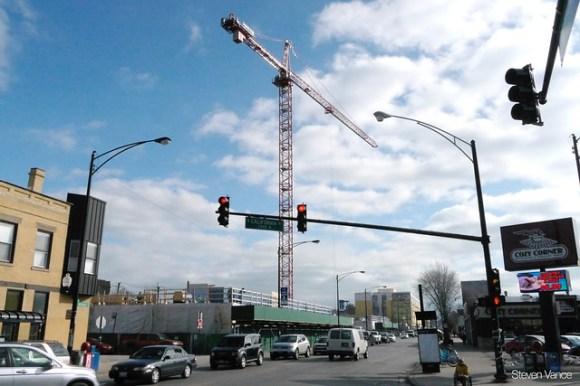 2237 N Milwaukee: Crane in the sky