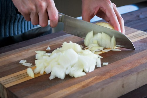 chopping the onions