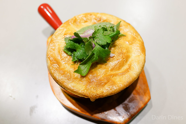 Short rib pot pie, lemongrass, annatto, beef tendon