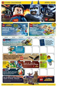 LEGO April 2016 Store Calendar Promotions & Events - The ...