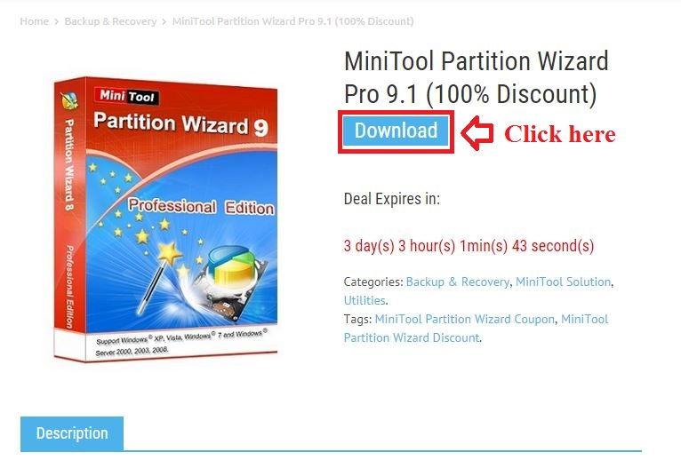 Bản quyền miễn phí MiniTool Partition Wizard Pro 9.1 bước 2: click download