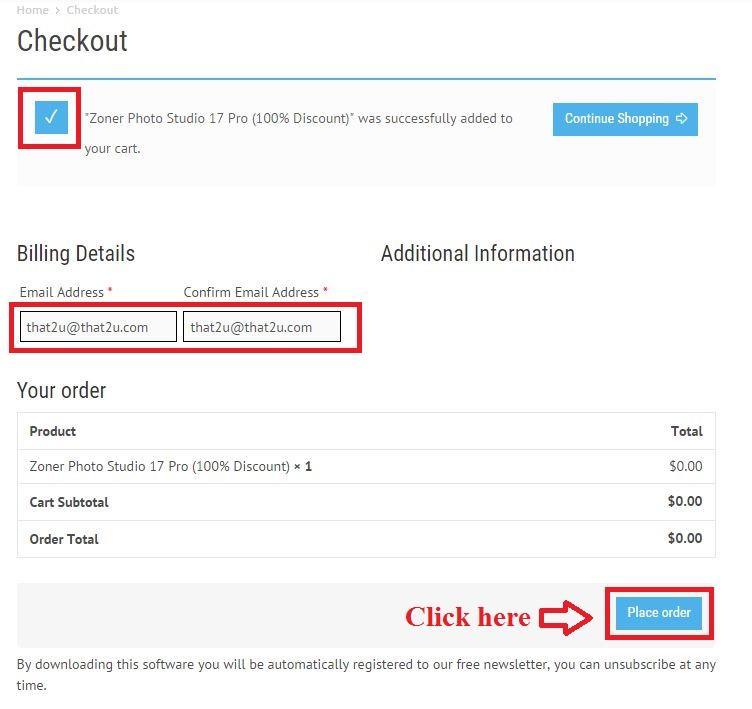 Bản quyền miễn phí Zoner Photo Studio 17 Pro bước 3: nhập email