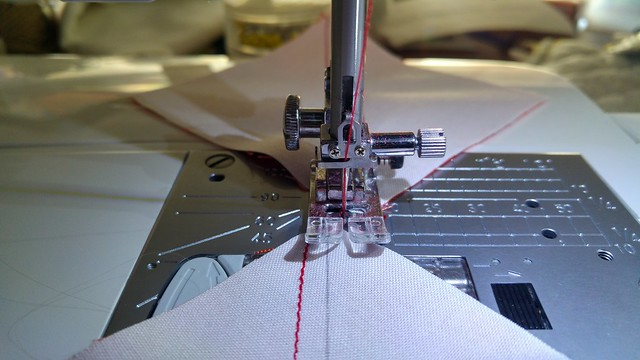 Sewing a scant 1/4 inch to either side of the diagonal
