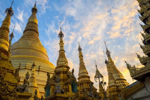 Gold pagoda, gold light. Shwedagon Paya