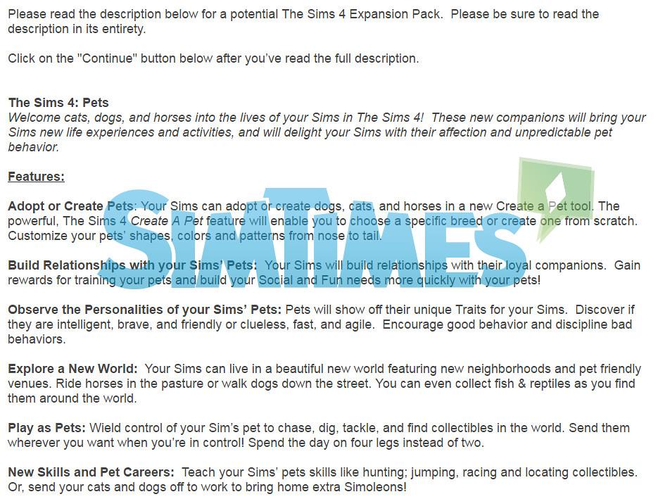 Sondage Les Sims 4 : Animaux de compagnie !