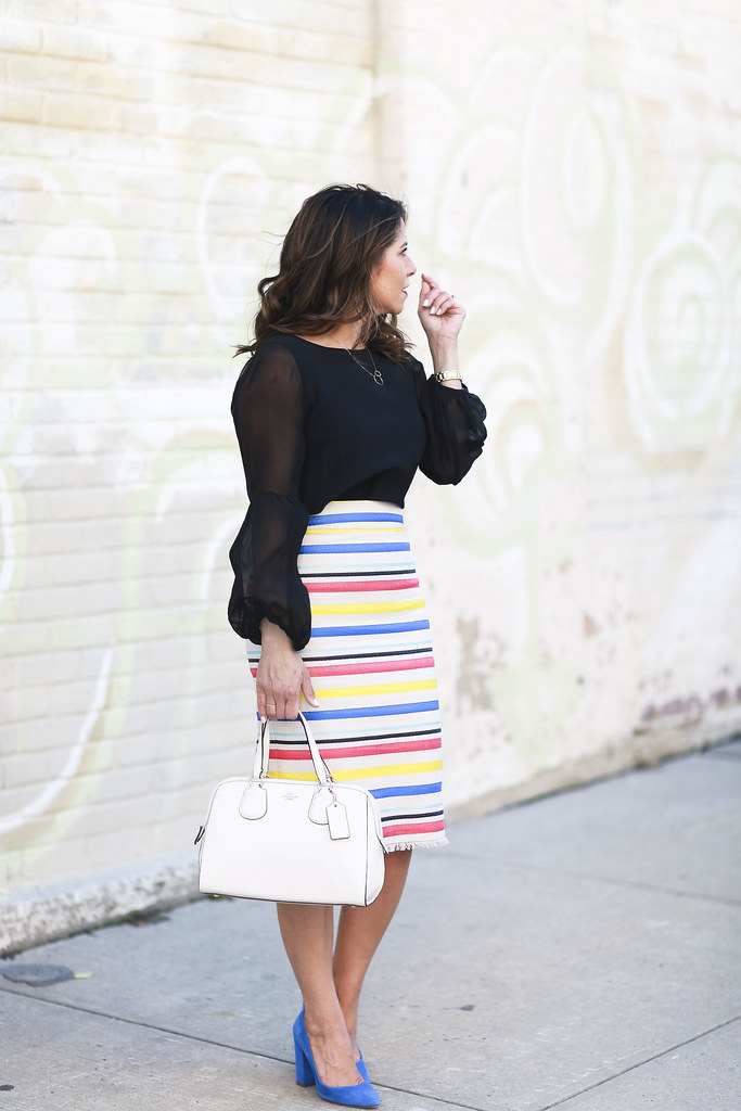 Jcrew skirt-colorful-stripes-blue heels-what to wear to work-corporate outfit-thredup-corproate catwalk-club monaco shirt-black top5