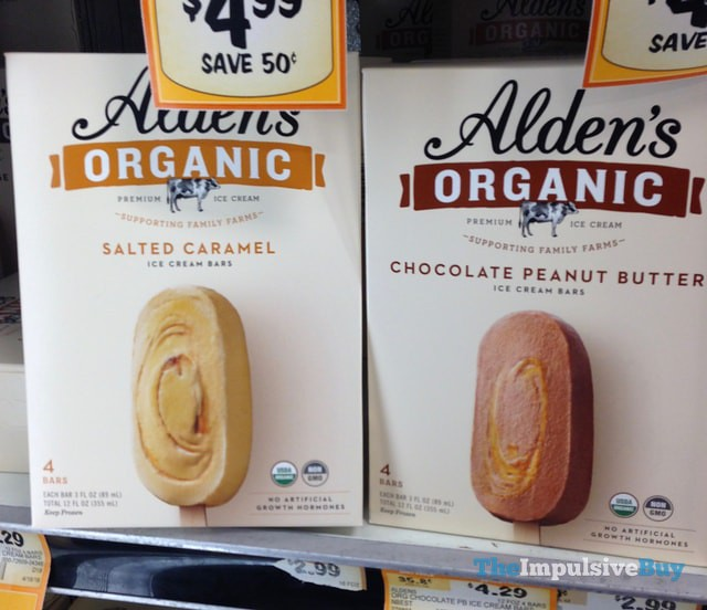 Alden's Organic Salted Caramel and Chocolate Peanut Butter Ice Cream Bars