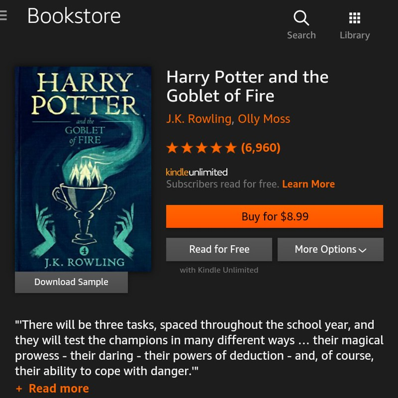 Kindle Unlimited books that you should be reading and listening now - Harry Potter and the Goblet of Fire (Book 4)