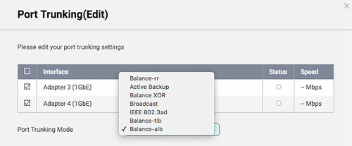 ตัวเลือก Port trunking ของ QNAP Turbo NAS (QTS 4.2.1)