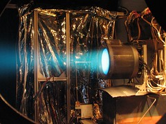 T6 ion thruster firing
