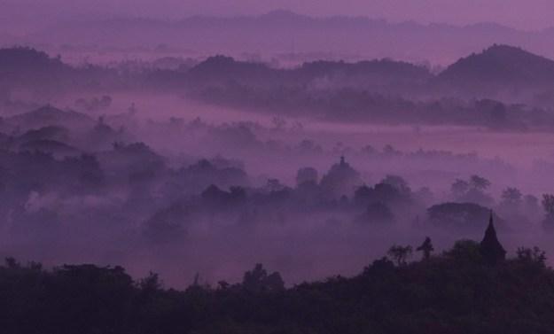 Purple. Shwetaung Paya sunrise