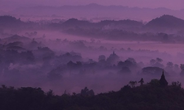 Purple. Shwetaung Paya sunrise