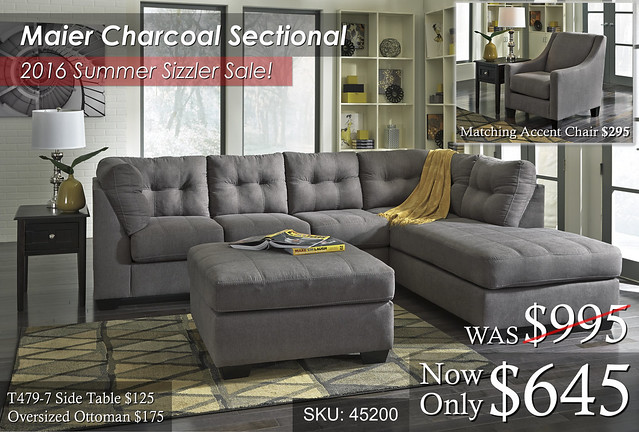Maier Charcoal Sectional Summer Sale