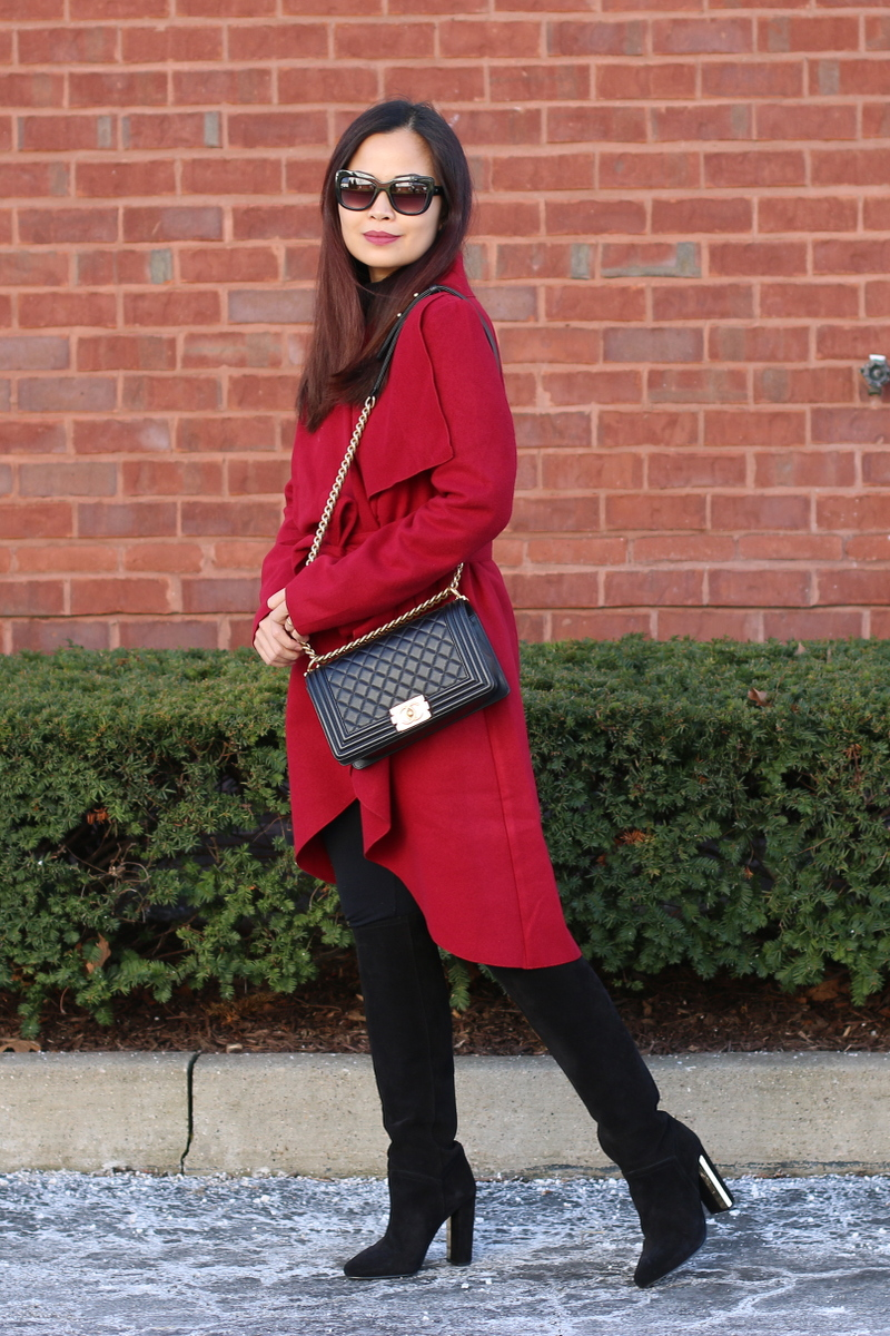 SheIn red coat, Topshop tall suede boots, Chanel boy bag