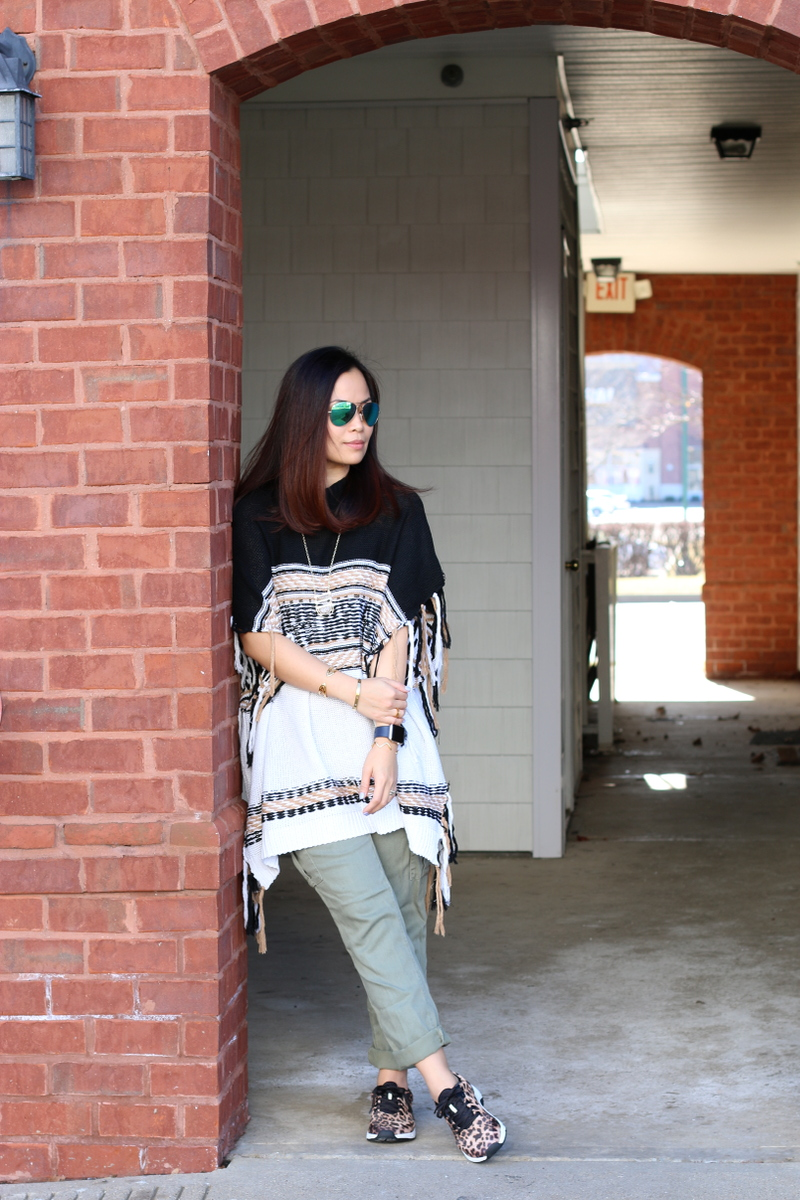 shein poncho, army green cargo pants, leopard sneakers