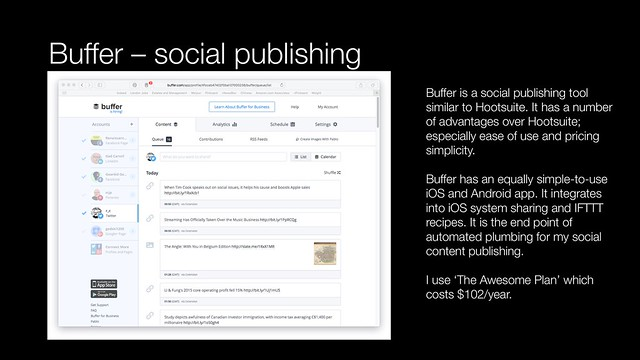 Buffer social channel publishing and analytics