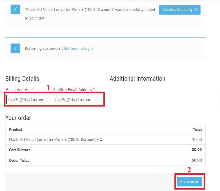 bản quyền miễn phí MacX HD Video Converter Pro 5.9 bước 3: nhap email