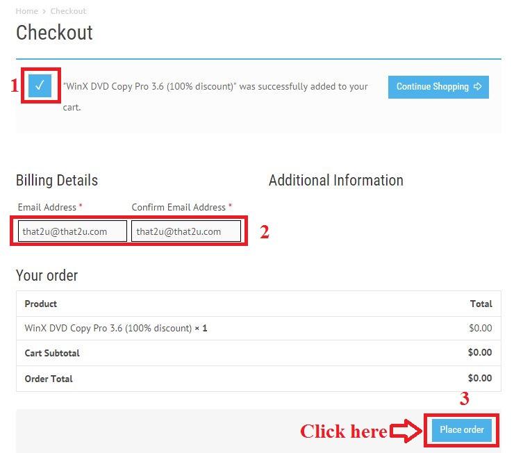 Bản quyền miễn phí WinX DVD Copy Pro 3.6 bước 3: nhập email
