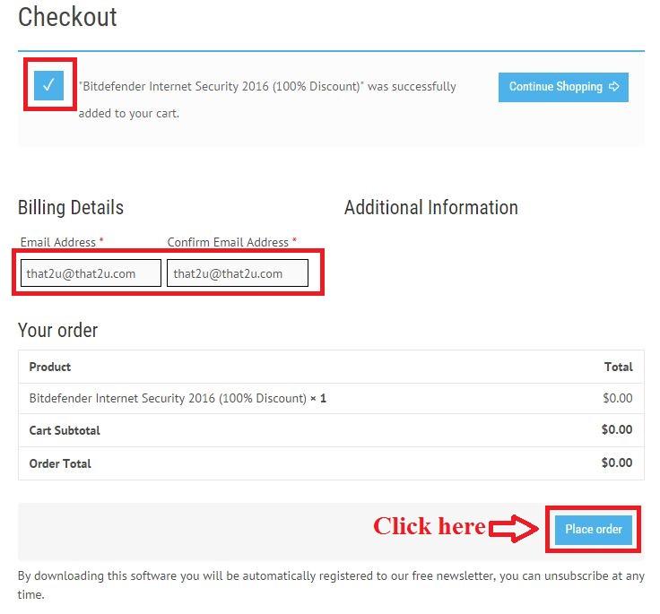 Bản quyền miễn phí Bitdefender Internet Security 2016 bước 3: nhập email