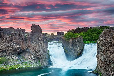 Double waterfall Hjálparfoss