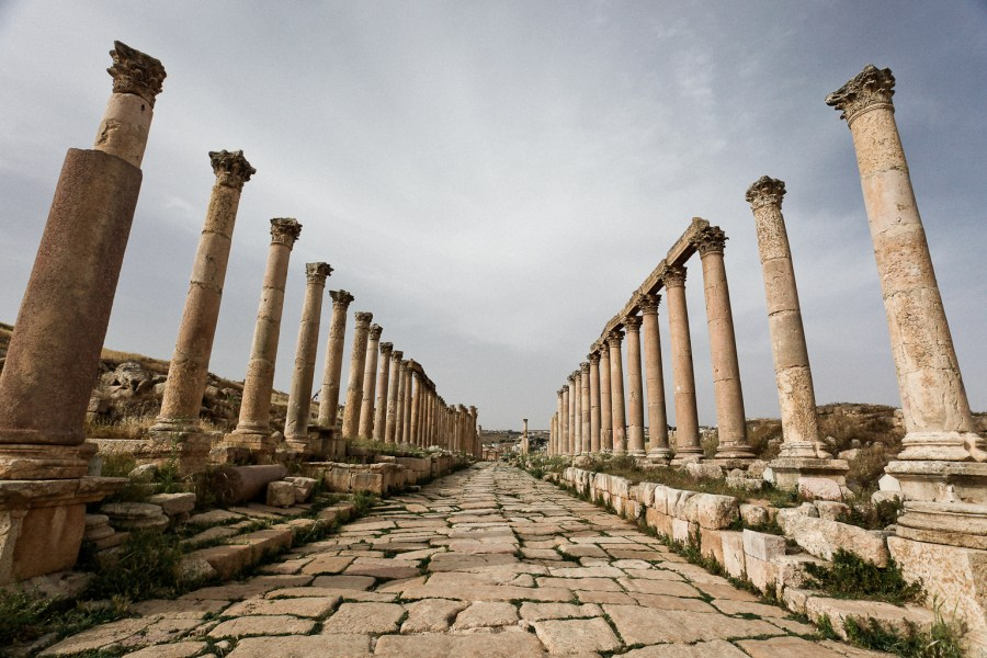 Colonnade in the Roman City of Gerasa (Jerash), Jordan