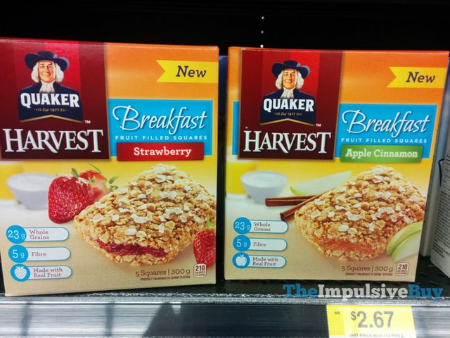 Quaker Harvest Strawberry and Apple Cinnamon Breakfast Fruit Filled Squares