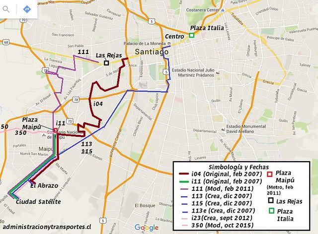 Infografía micros Transantiago Ciudad Satélite