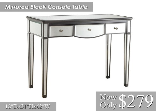 Mirrored Black Console Table