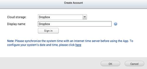 เลือกบริการ Cloud storage ที่อยากเชื่อมต่อ และตั้งชื่อ