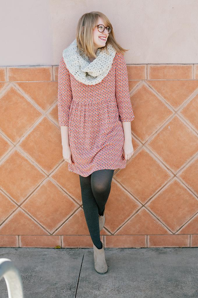 old navy smock dress knit scarf7
