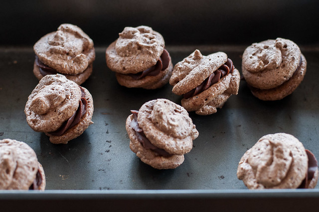 Cocoa crunch meringue cookie sandwiches