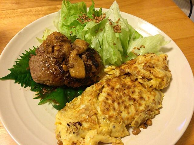 納豆オムレツと肉肉しいハンバーグ