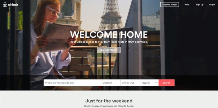 airbnb index page
