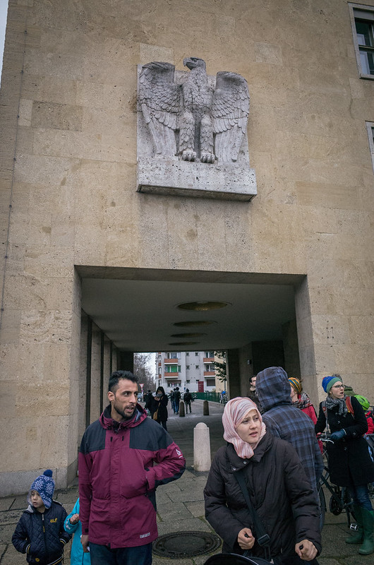 Nazi eagle, Arab immigrants. Tempelhof, March 2016.