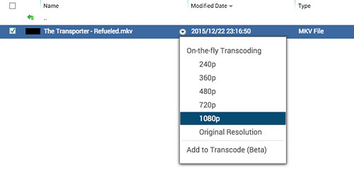 สามารถเล่นวิดีโอจาก File Station ได้ และเป็นแบบ On-the-fly transcoding