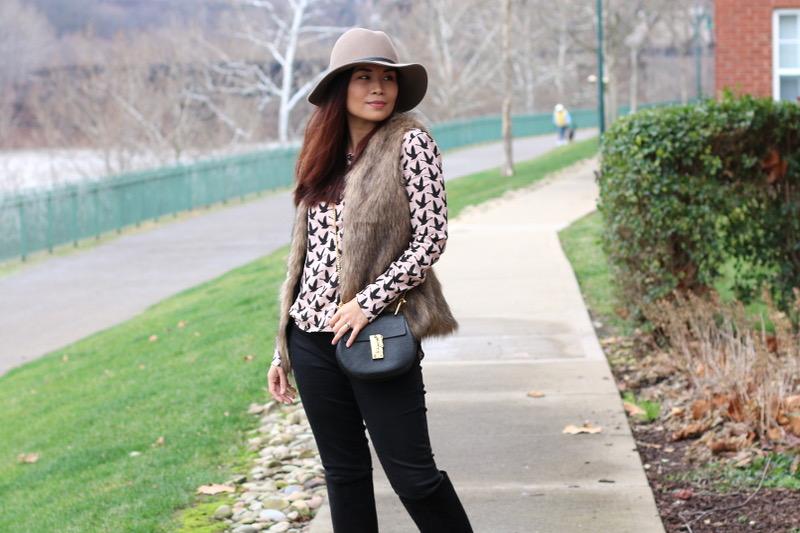 rose quartz, faux fur outfit