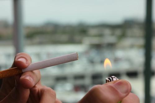 Lighting Up A Cigarette