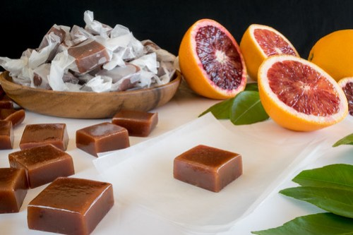 blood orange caramels with cardamom and sea salt