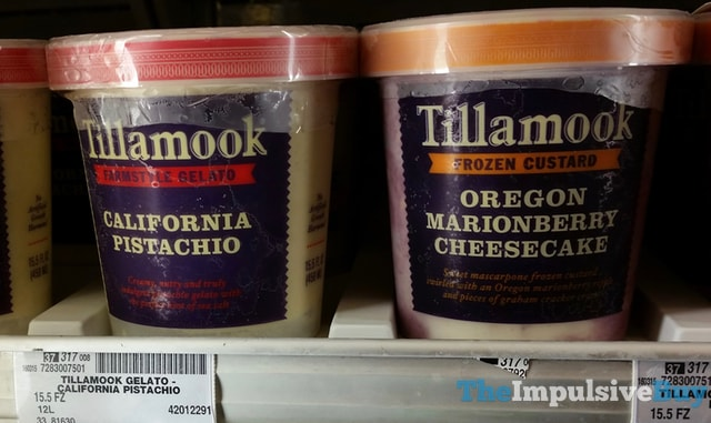 Tillamook California Pistachio Gelato and Oregon Marionberry Cheesecake Custard