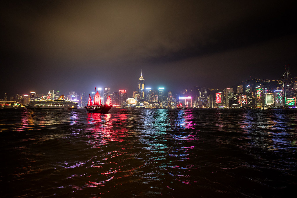 Hong Kong Harbor - A Symphony of Lights