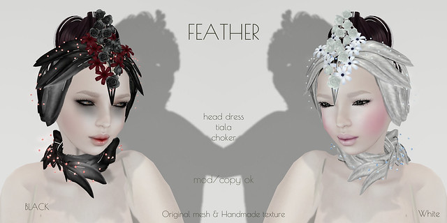 *NAMINOKE*Feather Accessories Black & White pack